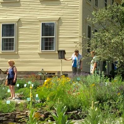 Visitors tour garden dur9ng URI Master Garden Tour