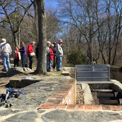 Visitors learn about the herring run